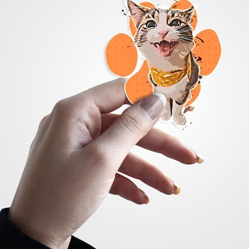 pet cat sticker in hand
