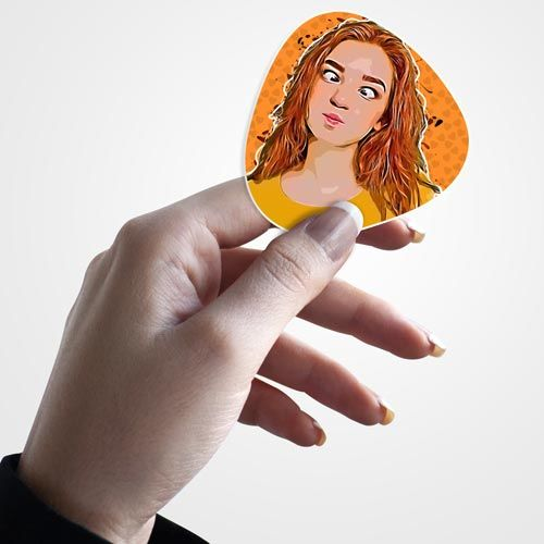 sticker in female hand