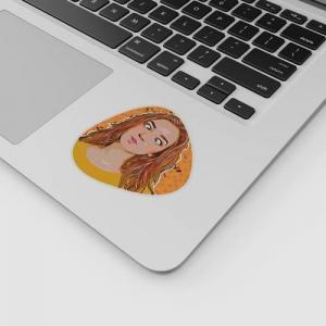 laptop with a sticker